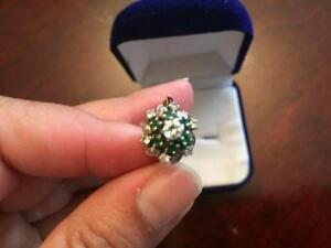 Natural Diamond and Natural Emerald in 14K Gold Ring with Beautiful Design (Size 8)