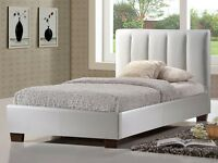 CLOSING DOWN BED FACTORY SINGLE WHITE LEATHER BEDS HALF PRICE