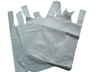 500x White Vest Plastic Carrier Bags Size 11x17x21