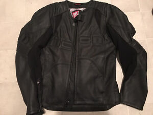 Black Leather Icon Motorcycle Jacket - Us Med Euro 44