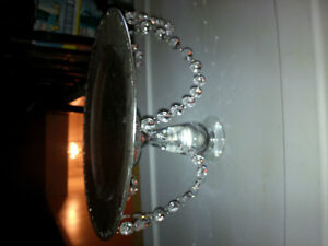 Elevated Cake Plate/Dessert Platter with Rhinestone Crystals