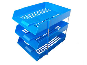 12x-Filing-Paper-Letter-Trays-Risers-A4-Blue-Stacking-Office-Desk-Stationary