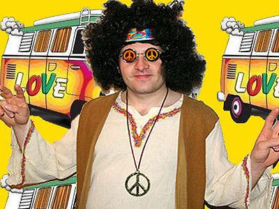 122✪  Hippie Herren Komplett Kostüm Woodstock Peacekette 60er 70er Jahre Kult - Herren Kostüm Woodstock