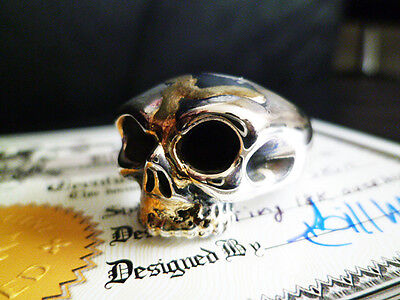 BILL WALL LEATHER Custom Harlf SKULL Ring 18k overlay BWL