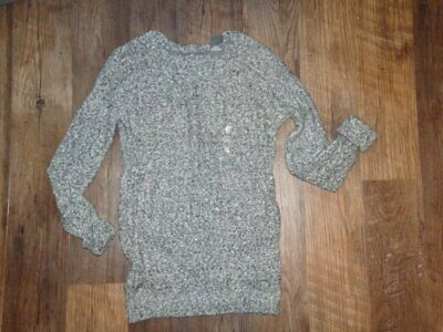 ABERCROMBIE & FITCH Womens Sweater SMALL Gray White Cable Knit Long NWTS A&F
