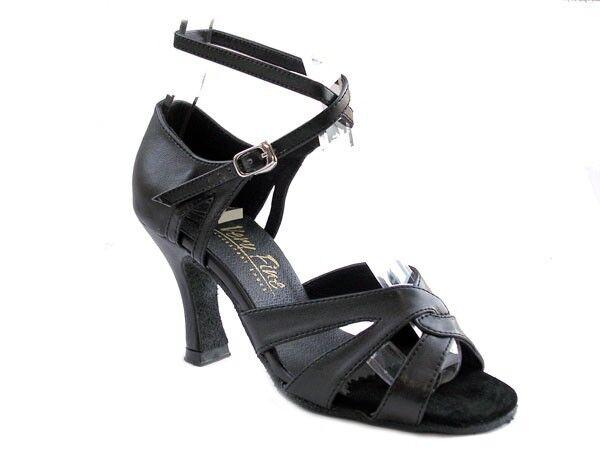 1658 Black Leather Swing Ballroom Salsa Latin Dance Shoes heel 2.5 Size 6