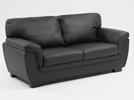 Leather effect 3 seater sofa - black
