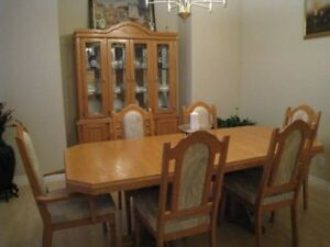 Solid Oak Dining Table and Cabinet
