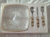 Large Crystal Serving Appetizer Nibble Tray Platter Dish With Spoon Fork New