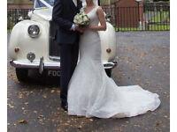 Stunning fish tale, lace, wedding dress,size 8