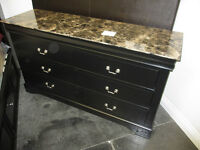 NEW BLACK DRESSER AND MIRROR WITH FAUX MARBLE TOP WAS 1199