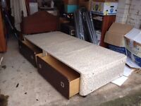 single divan bed with clean mattress storage drawers headboard £35
