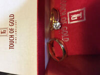 Set of matching engagement and wedding rings