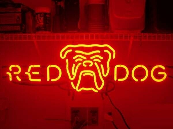 "Neon Light Sign 24""x12"" Red Dog Beer Bar Artwork Decor Lamp"