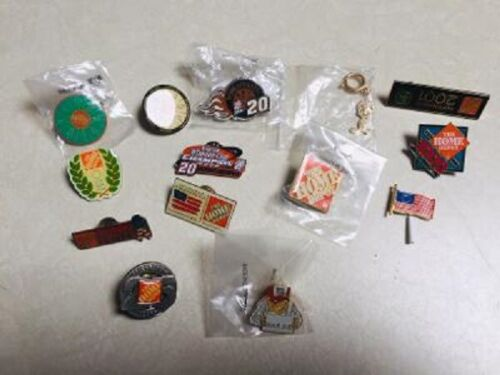 Home Depot and Vendor Collectable Apron/Lapel Pins- Lot of 14