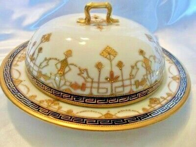Nippon Hand Painted Butter-Cheese Dish Domed Lid Greek Key Gold Trim - Hand Painted Greek Key
