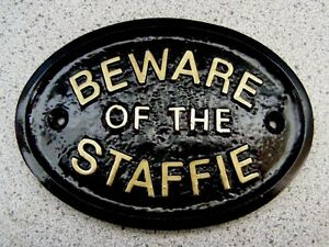 BEWARE OF THE STAFFIE HOUSE DOOR PLAQUE DOG SIGN STAFFORDSHIRE