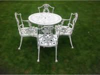 Cast aluminium garden table and 4 chairs victorian style