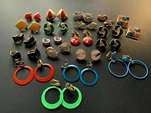 Vintage Clip-on Earrings Enamel Hoops Gold Tone Avon Speckled Multi Colored