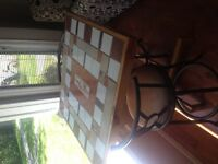 Counter height custom table and two chairs for sale
