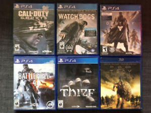 5 PS4 games and one blue ray movie