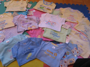 LOTS OF BABY CLOTHES, BIB SET AND BODYSUITS FOR SALE