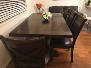 Designer Solid Wood Leather Dining Set