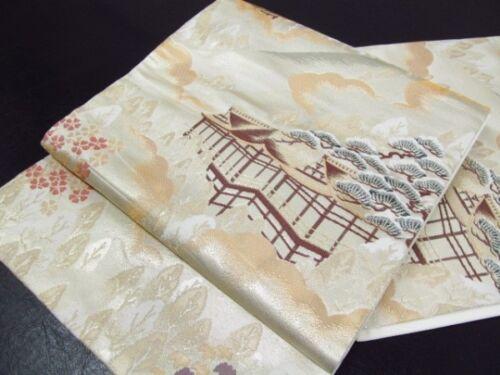 Japanese Kimono SILK FUKURO OBI Kyoto, Kinkaku Temple (4327-1301)