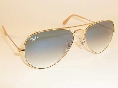 New RAY BAN Aviator Sunglasses Gold Frame RB 3025 001/3F Gradient Blue (Ray Ban Aviator Gold Blue Gradient)