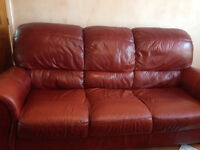 Soft Italian leather three piece suite