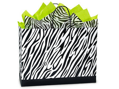 Zebra Stripe Print Paper Gift Shopping Bags 250 Vogue 16x6x12