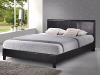 MODERN LEATHER DOUBLE BED AND MATTRESS