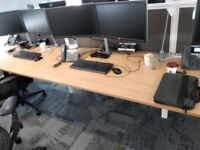 6 position office desk table bench with divider partition and cable tray