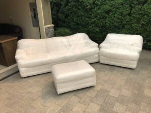 White couch ottoman and chair