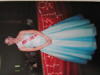 STRAPLESS POOFY BALL GOWN PROM DRESS w/ SEQUENCE