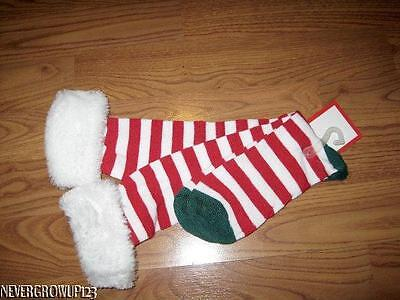 WOMENS KNEE HIGH RED/WHITE CANDY CANE STRIPE CHRISTMAS SOCKS~WHITE FAUX FUR~NWT