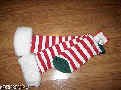 WOMENS KNEE HIGH RED/WHITE CANDY CANE STRIPE CHRISTMAS SOCKS~WHITE FAUX FUR~NWT