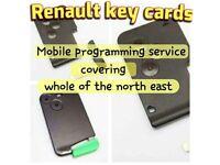 renault key card supplied & programmed. mobile autolocksmith. megane scenic laguna clio espace