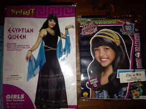 EGYPTIAN QUEEN COSTUME AND WIG (GIRLS SIZE 8-10)