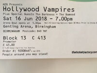2 x Hollywood Vampires tickets Genting Arena Birmingham 16th June £100 ono