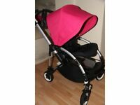 Bugaboo Bee Plus with pink hood,parasol, raincover.