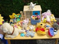 soft toys incl rabbit and hutch and battery puppy