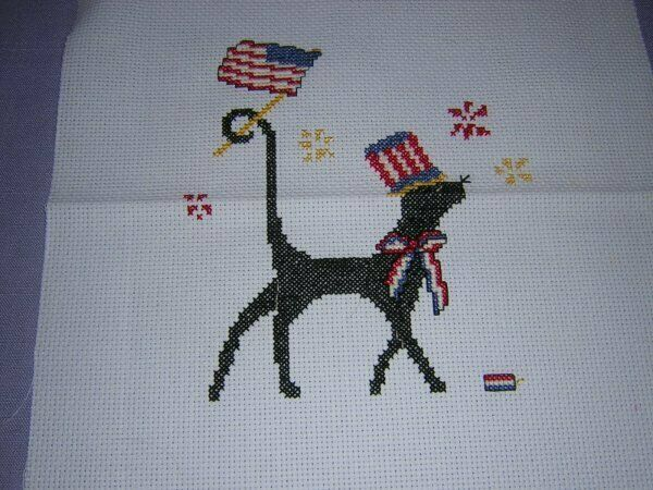 Mr Patriotic! Completed Silly Snobs Cat Cross Stitch