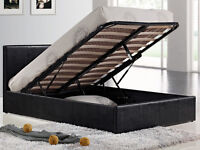 BRAND NEW 5FT Kingsize Black Leather Ottoman Storage Bed from £145 Quilted Semi Orthopaedic Mattress