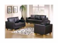 BRAND NEW 3 SEATER AND 2 SEATER BOX SOFA IN BLACK AND BROWN FAUX LEATHER