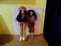 "Native American Indian Dolls (male & female) 12"" tall"