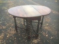 Bobbin Leg Drop Leaf Oak Table