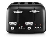 DeLonghi Argento 4 Slice CT04W1 Classic Vintage Retro Bread Toaster BLACK- BRAND NEW