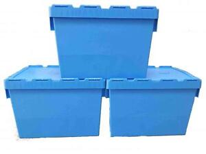 Heavy Duty Industrial 80 Ltr Plastic boxes - Blue -Set of Three