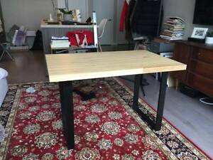Reclaimed Glue Laminated Sequoia Desk w/ Solid Oak Ebonized Legs